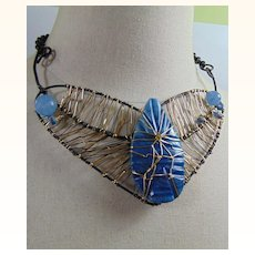 Blue Onyx on Annealed Steel n Brass Necklace