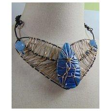 Blue Onyx on Annealed Steel n Brass Necklace