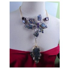 Labradorite and Amethyst Brutalist 2 Ways to Wear Necklace