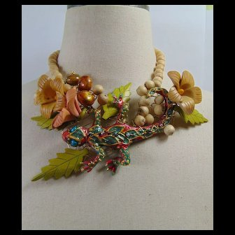 Lizard among the Flowers Necklace
