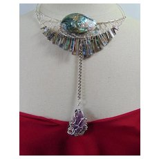 Sterling Silver Abalone n Amethyst Necklace