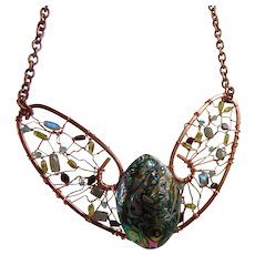 Copper Sculpted Bib Necklace w Abalone n Gem Stones