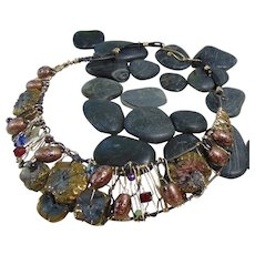 Annealed Steel n Brass Collar Bejeweled