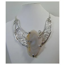 Sculpted Aluminum n Sterling Silver w White Agate Slice Necklace