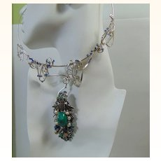 Sterling Silver Choker w Detachable Mixed Media Pendant.