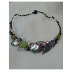 Mixed Media Necklace w Gem Stones.
