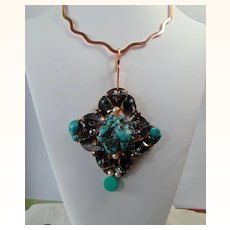 Turquoise n Cultured Freshwater Pearls on Copper Choker