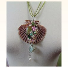 Sterling n Gem Encrusted Scallop Shell Pendant Necklace
