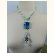 Blue Crystal n Blue Agate set in Sterling Silver on Flourite Necklace.
