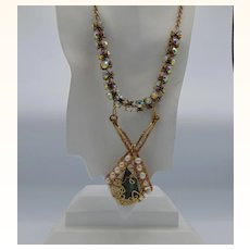 Brass Set Labradorite, Cultured Freshwater Pearls and AB Swarovski Necklace