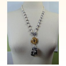 Long Necklace of Cultured Freshwater Pearls, Hawaiian Zebra Shell, Bone n Rock on Sterling Silver