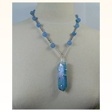 Gold Electroplated Aqua Quartz Sterling Silver Pendant on Dyed Agate, Hematite, Labradorite n Czech Glass Necklace