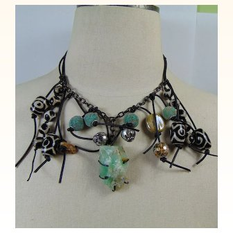 Mixed Media Agate n Calcite Necklace