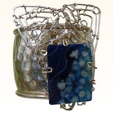 Big Silver Cuff w Blue Agate