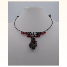 Brutalist Style Annealed Steel, Pyrite and Swarovski Choker