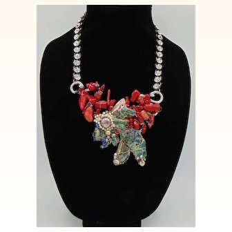 Red Coral n Abalone on Sterling Silver, Aluminum, Pewter and Rhinestone Necklace