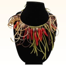 Red Pepper Coral, Czech Glass Art Beads n Leather on Brass Necklace