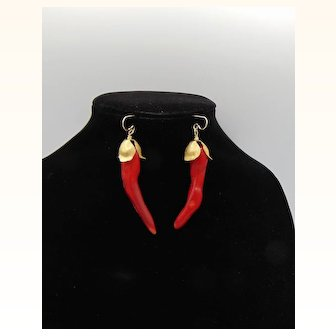 Red Pepper Coral Earrings on 14KGF Ear Wires