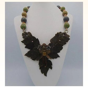 Leather n Ceramic Necklace