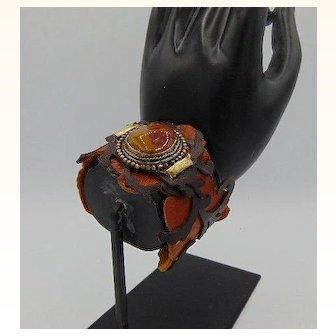 Leather, Agate n Brass Cuff