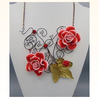 Roses on Steel Necklace