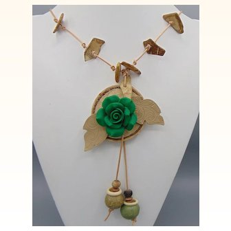 Wood, Leather n Clay Necklace