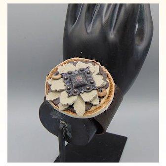 Wood, Leather n Brass Cuff