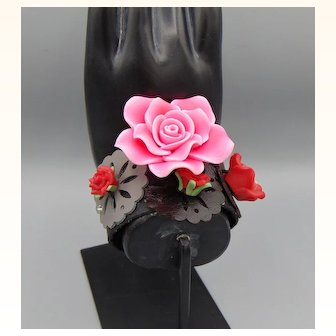 Rosy Polymer Roses on Leather Cuff Bracelet