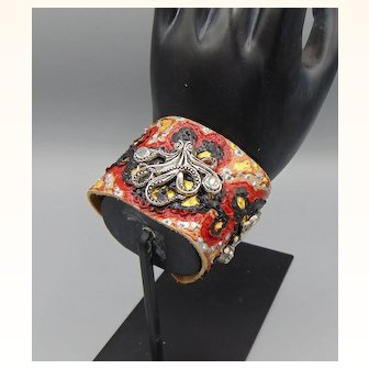 Pewter Octopi on Painted Leather Cuff