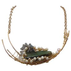 Labradorite n Cultured Freshwater Pearls on Sculpted Brass Necklace