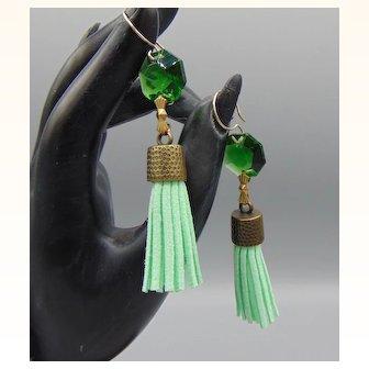 Green Leather Tassel w Glass Crystal Earrings on 14KGF Ear Wires