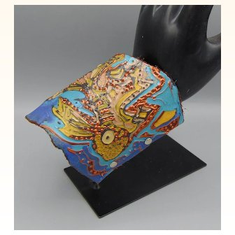 Fish Painted Leather Cuff w Horn Clasp