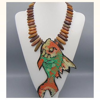 Painted Leather Fish on Wood Necklace
