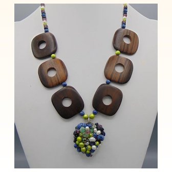 Wood, Czech Glass and Gemstone Necklace