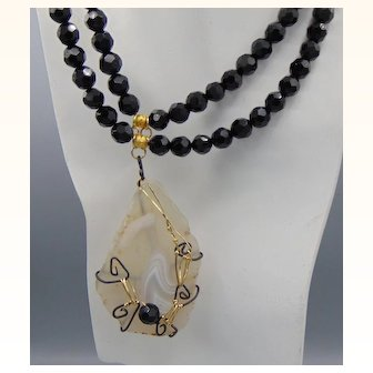 Jet and Agate Double Strung Necklace