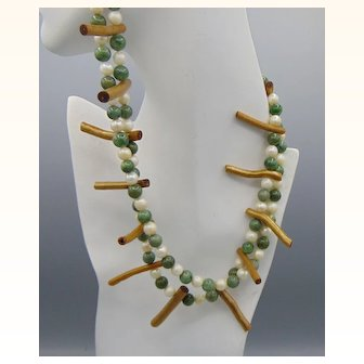 Cultured Freshwater Pearls n Green Stone with Brass Plated Coral