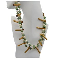 Cultured Freshwater Pearls n Nephrite Jade with Brass Plated Coral