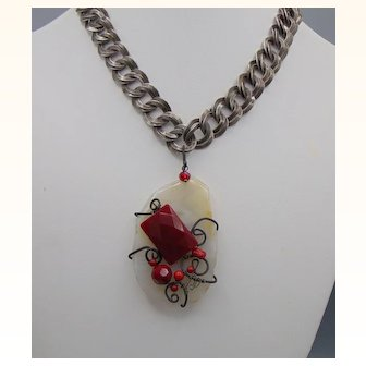 Black n White and Red All Over Pendant Choker