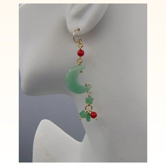 Chalcedony n Red Coral Moon and Stars Earrings