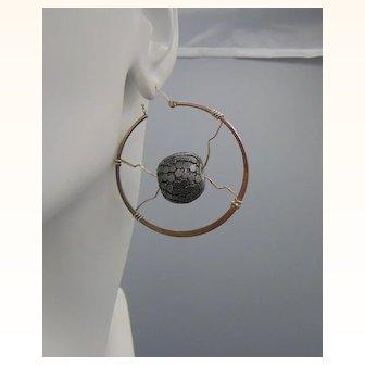 Sterling Silver Hoop Earrings with Metal Art Beads