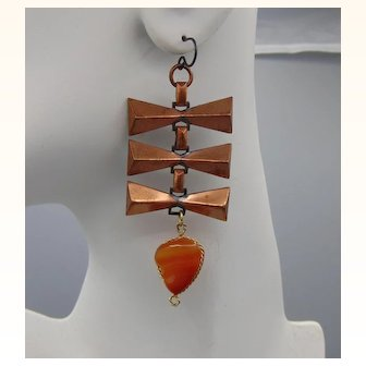 Copper Plated Steel w Brass Wire Wrapped Agate on Niobium Ear Wires