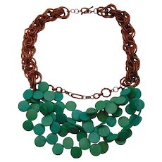 Chunky Copper Chain n Turquoise Coin Bib Necklace