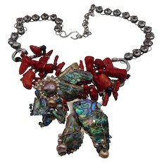 Abalone, Cultured Freshwater Pearls n Coral on Rhinestone Necklace