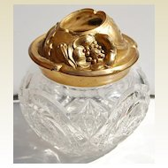 Antique Victorian Cut Glass Dresser Jar/Hair Receiver