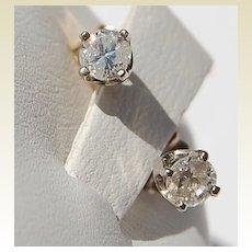 Vintage 14K Gold Diamond  Stud Earrings