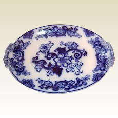 Fabulous Antique Large Flo Blue Platter