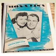 "1959 Sheet Music ""Mona Lisa"" From ""Captain Carey, U.S.A."""