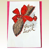 Embossed Good Luck Post Card
