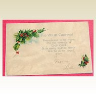 1910 For You At Christmas Post Card