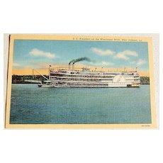 Vintage S. S. President  On The Mississippi River Postcard